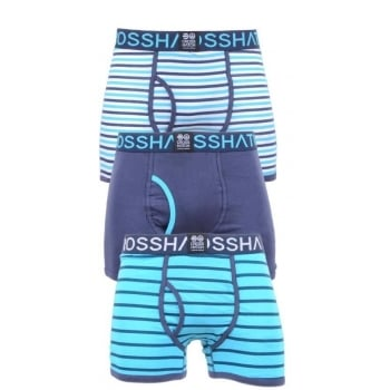 Crosshatch 3 Pack Allsync Striped Designer Boxer Trunks Underwear Scuba Blue