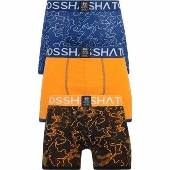 Crosshatch 3 Pack Botany Designer Printed Boxer Trunks Underwear Estate Blue