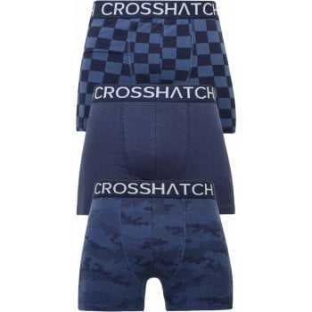 Crosshatch 3 Pack Bresler Designer Boxer Trunks Underwear Navy