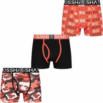 Crosshatch 3 Pack Camotype Designer Boxer Trunks Underwear Teaberry