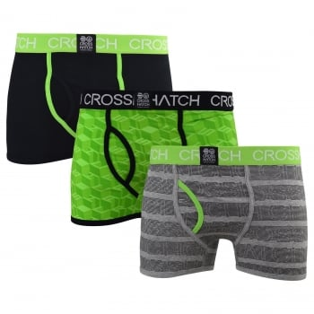 Crosshatch 3 Pack Causeway Designer Boxer Trunks Underwear Jasmine Green