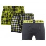 Crosshatch 3 Pack Checkham Designer Boxer Trunks Underwear Forged Iron