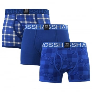 Crosshatch 3 Pack Checkham Designer Boxer Trunks Underwear Limoges