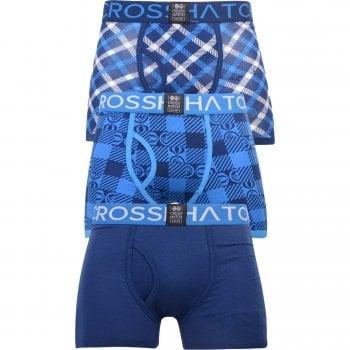 Crosshatch 3 Pack Checkzone Plain Designer Boxer Trunks Underwear Estate Blue