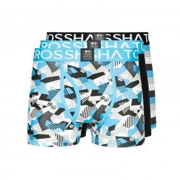 Crosshatch 3 Pack Crystaline Designer Boxer Trunks Underwear Malibu Blue