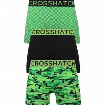 Crosshatch 3 Pack Darner Designer Boxer Trunks Underwear Green