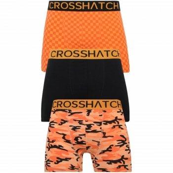 Crosshatch 3 Pack Darner Designer Boxer Trunks Underwear Orange