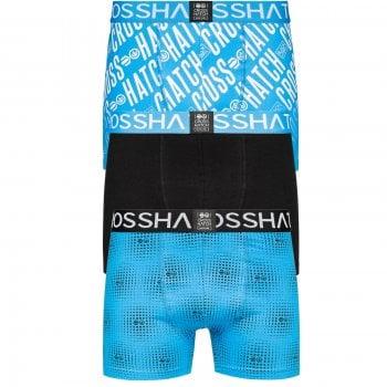 Crosshatch 3 Pack Fadez Designer Boxer Trunks Underwear Black Blue