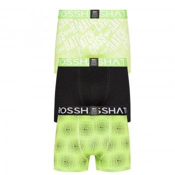 Crosshatch 3 Pack Fadez Designer Boxer Trunks Underwear Black Green