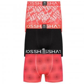 Crosshatch 3 Pack Fadez Designer Boxer Trunks Underwear Black Magenta