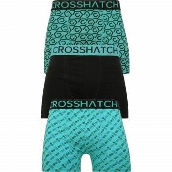 Crosshatch 3 Pack Gleason Designer Boxer Trunks Underwear Black Green