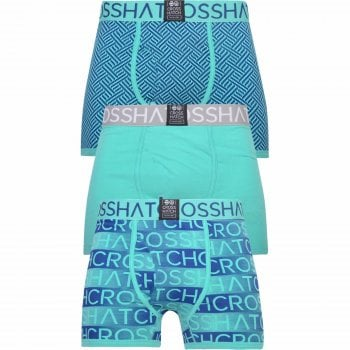 Crosshatch 3 Pack Grazer Designer Boxer Trunks Underwear Atlantis