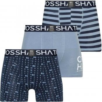 Crosshatch 3 Pack Gridline Designer Boxer Trunks Underwear Denim Blue