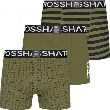 Crosshatch 3 Pack Gridline Designer Boxer Trunks Underwear Green