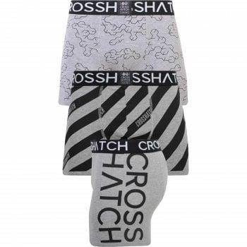 Crosshatch 3 Pack Holkham Designer Printed Boxer Trunks Underwear Grey