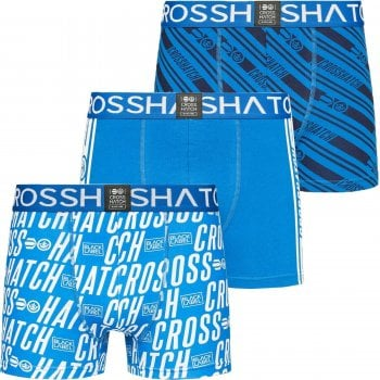 Crosshatch 3 Pack Italica Designer Boxer Trunks Underwear Classic Blue