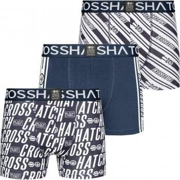 Crosshatch 3 Pack Italica Designer Boxer Trunks Underwear Dress Blue