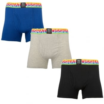 Crosshatch 3 Pack Mens Prizlet Designer Boxer Trunks Underwear Black