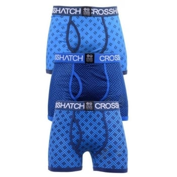Crosshatch 3 Pack Pattened Grillis Plain Designer Boxer Trunks Underwear Deep Azure