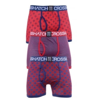 Crosshatch 3 Pack Pattened Grillis Plain Designer Boxer Trunks Underwear Tango Red