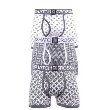 Crosshatch 3 Pack Pattened Grillis Plain Designer Boxer Trunks Underwear White