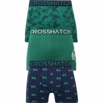 Crosshatch 3 Pack Pendley Designer Boxer Trunks Underwear Green Blue