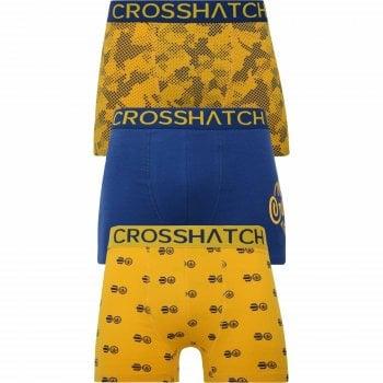 Crosshatch 3 Pack Pendley Designer Boxer Trunks Underwear Yellow
