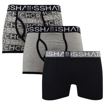 Crosshatch 3 Pack Phazer Designer Boxer Trunks Underwear Black