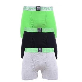 Crosshatch 3 Pack RGB Plain Designer Boxer Trunks Underwear Classic Green