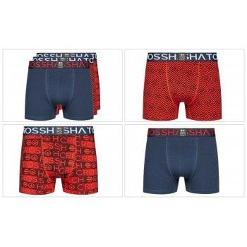 Crosshatch 3 Pack Ricochet Designer Boxer Trunks Underwear Reds