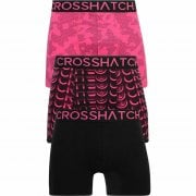 Crosshatch 3 Pack Saunton Designer Boxer Trunks Underwear Pink