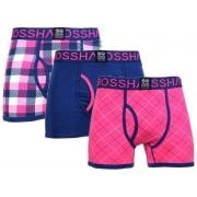 Crosshatch 3 Pack Tartastic Plain Designer Boxer Trunks Underwear Bright Magenta