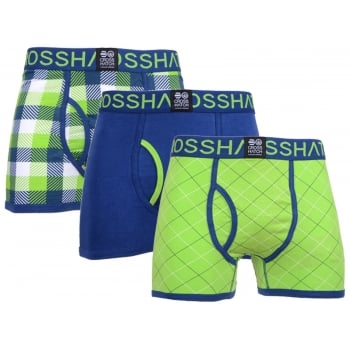 Crosshatch 3 Pack Tartastic Plain Designer Boxer Trunks Underwear Jasmin Green