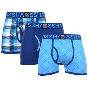 Crosshatch 3 Pack Tartastic Plain Designer Boxer Trunks Underwear Malibu Blue