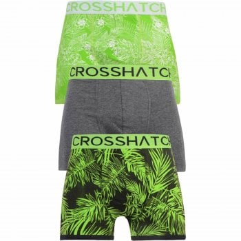 Crosshatch 3 Pack Tresco Floral Designer Boxer Trunks Underwear Green