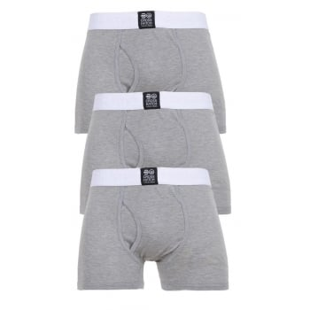 Crosshatch 3 Pack Triplet Designer Boxer Trunks Underwear Grey Marl