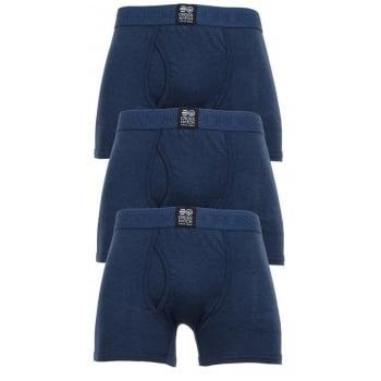 Crosshatch 3 Pack Triplet Designer Boxer Trunks Underwear Insignia Blue