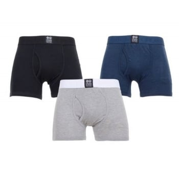 Crosshatch 3 Pack Triplet2  Designer Boxer Trunks Underwear Black Grey Navy