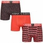 Crosshatch 3 Pack Typeline Designer Boxer Trunks Underwear Red