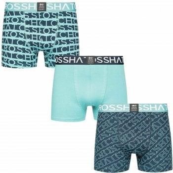 Crosshatch 3 Pack Typeline Designer Boxer Trunks Underwear Teal