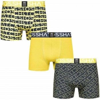 Crosshatch 3 Pack Typeline Designer Boxer Trunks Underwear Yellow