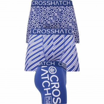 Crosshatch 3 Pack Wyse Designer Printed Boxer Trunks Underwear Blue White