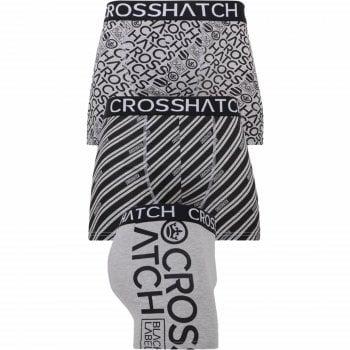 Crosshatch 3 Pack Wyse Designer Printed Boxer Trunks Underwear Grey Black
