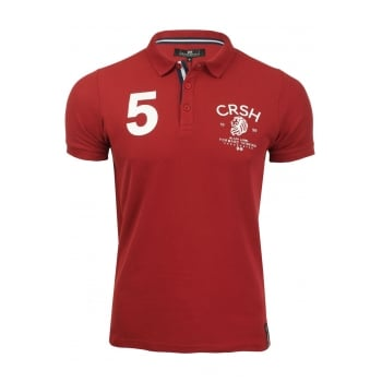 Crosshatch Aichi Mens Authentic Casual Designer Pique Polo Shirt Red Dahlia