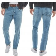 Crosshatch Bancrofter Mens new Branded Regular Fit Straight Leg Denim Jeans Mid Wash