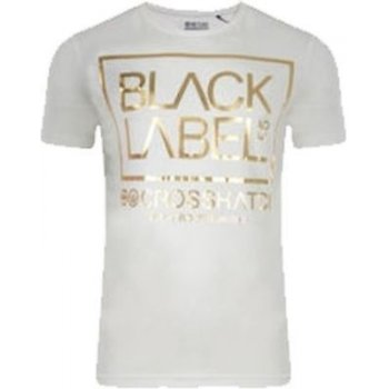 Crosshatch Casual Babling Branded Gold Foil T Shirt Off White