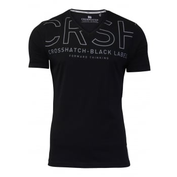 Crosshatch Casual Graphic V Neck T Shirt Harrison Black