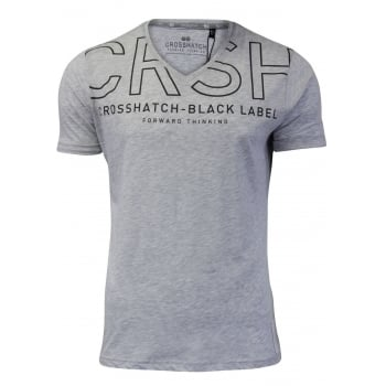 Crosshatch Casual Graphic V Neck T Shirt Harrison Grey Marl