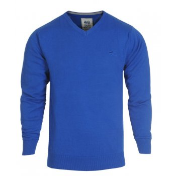 Crosshatch Casual Veeter V-Neck Fine Knitted Jumper Blue