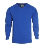 Crosshatch Casual Veeter V-Neck Fine Knitted Jumper Blue